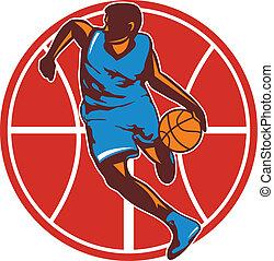 jogador basquetebol, bola, retro, frente, baba