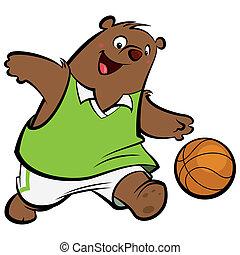 jogador, basquetebol, caricatura, urso