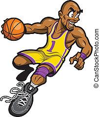 jogador, basquetebol, pretas