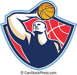 jogador, basquetebol, retro, bola, rebounding