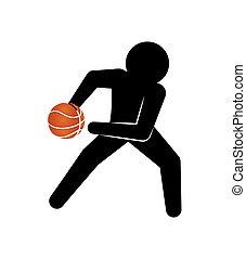 jogador, basquetebol, silueta, ícone