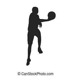 jogador, basquetebol, silueta