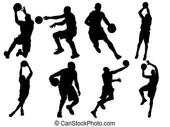jogador basquetebol, sombra, silueta