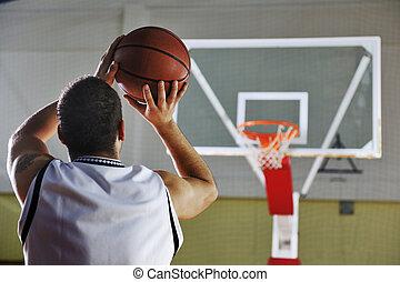 jogador basquetebol, tiroteio