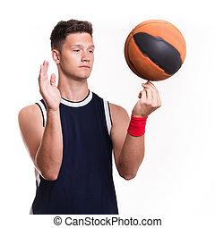 jogador basquetebol, voltas, a, bola, ligado, seu, dedo
