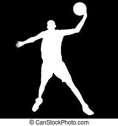 jogador, bola basquetebol