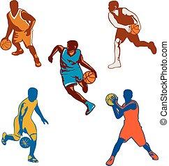 jogador bola, driblar, basquetebol, cobrança