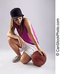 jogador, bola, femininas, basquetebol