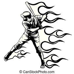 jogador bola, vetorial, morcego, massa basebol, balançando, ilustração, golpes