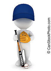 jogador, branca, 3d, basebol, pessoas