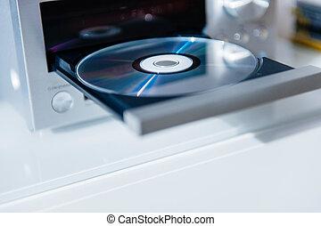 jogador cd, com, abertos, bandeja, e, disco, dentro