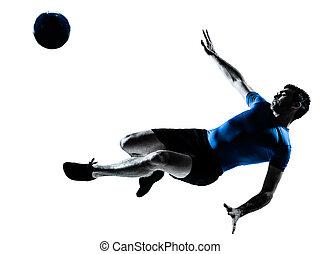 jogador, chutando, homem, voando, futebol americano futebol
