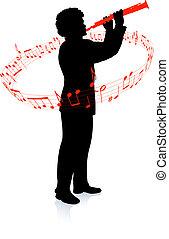 jogador, clarinete, partituras