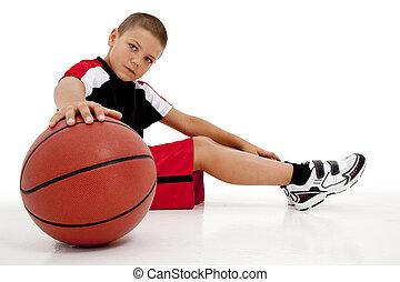 jogador, criança, basquetebol, relaxante, menino