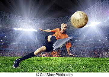 jogador de futebol, ligado, campo, de, estádio