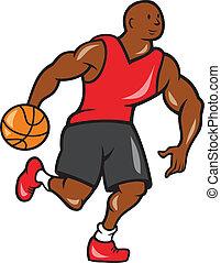 jogador, driblar, basquetebol, caricatura, bola