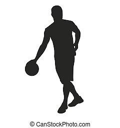 jogador, driblar, basquetebol