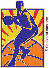 jogador, driblar, basquetebol, retro, bola