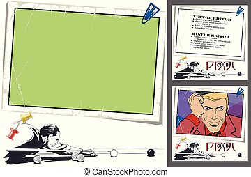 jogador, em, billiards., quadro, para, scrapbook, bandeira, adesivo, social, rede