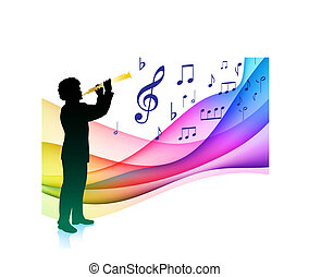 jogador, flauta, musical, cor, nota, espectro