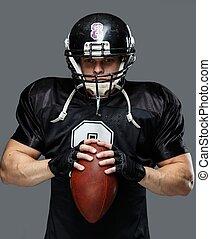 jogador football americano, com, bola, desgastar, capacete,...