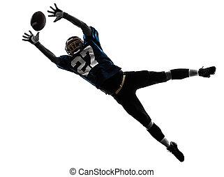 jogador football americano, homem, pegando, recebendo,...