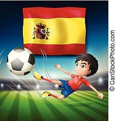 jogador, football bandeira, espanha