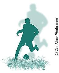 jogador, futebol, capim