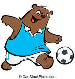 jogador, futebol, caricatura, urso