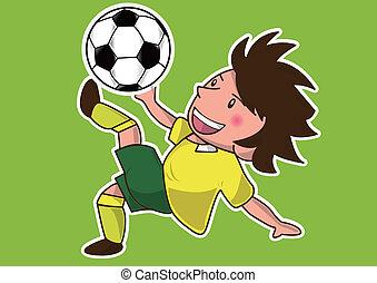 jogador, futebol, caricatura