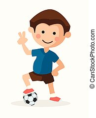 jogador, futebol, criança
