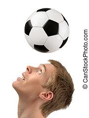 jogador, futebol, demonstrar, cabeçalhos