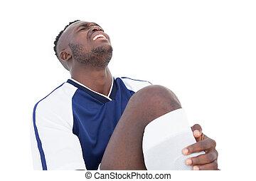 jogador, futebol, dor, shouting