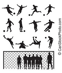 jogador, futebol, jogo, pretas, futebol