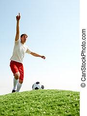 jogador, futebol, shouting
