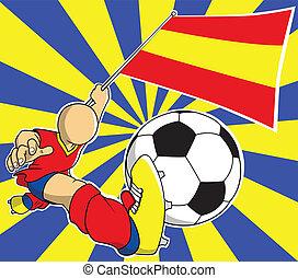 jogador, futebol, vetorial, caricatura, espanha