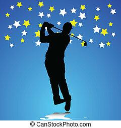 jogador, golfe, ilustração