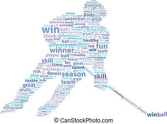 jogador hóquei, esportes, palavra, nuvem