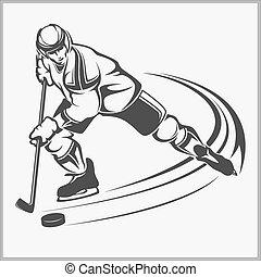 jogador hóquei, -, vetorial, ilustração