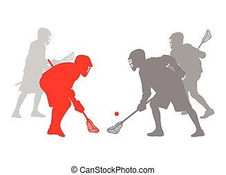 jogador lacrosse, ação, vencedor, conceito, vetorial, fundo