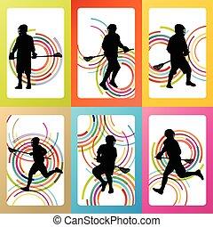 jogador lacrosse, ação, vetorial
