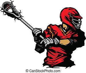 jogador lacrosse, cradling, bola, illus