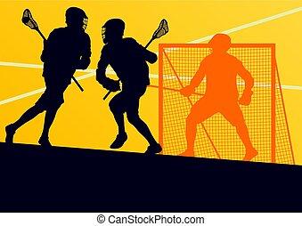 jogador lacrosse, em, engrenagem protetora, trabalho equipe,...