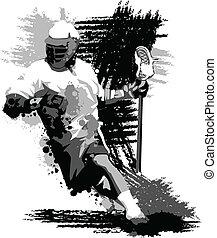 jogador lacrosse, splatter, vetorial, ilustração