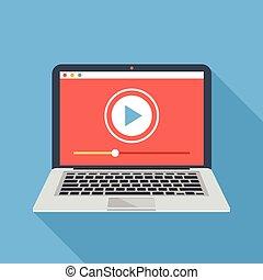 jogador, laptop, vetorial, vídeo