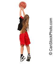 jogador, menina, basquetebol, criança