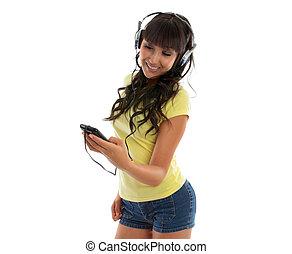 jogador, menina, feliz, música, usando