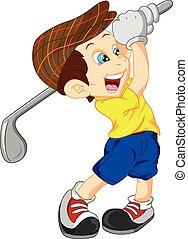 jogador, menino, golfe, caricatura, cute