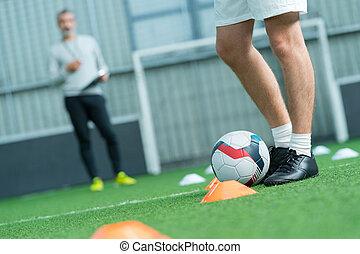 jogador, meta futebol americano, antes de, futebol