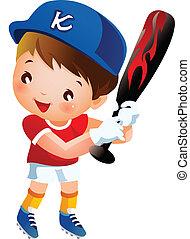 jogador, morcego, basebol, balançando